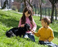 Image of Kids and their dog.